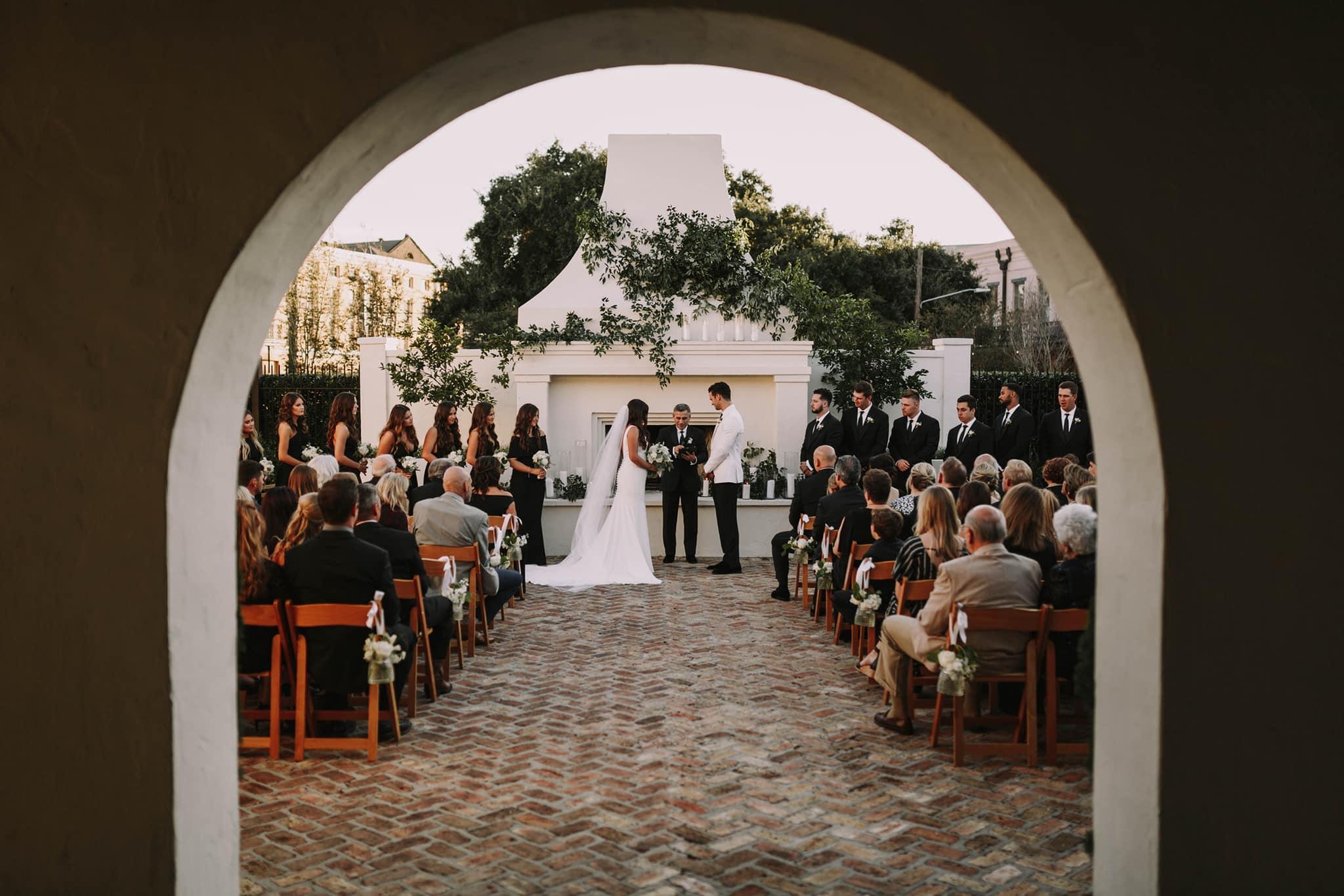 Elegant Black Tie Wedding Ceremony at Il Mercato Wedding Venue in New Orleans